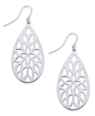 Charter Club Silver-Tone Filigree Drop Earrings, Created for Macy's