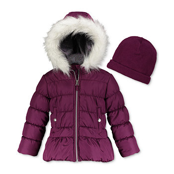 Weathertamer Hooded Puffer Coat With Faux-Fur Trim & Hat