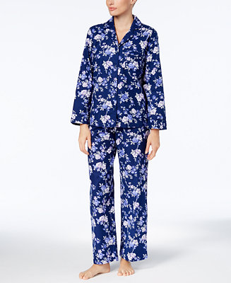 Charter Club Printed Cotton Flannel Pajama Set, Created