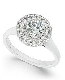 Diamond Circle Cluster Halo Engagement Ring (1 ct. t.w.) in 14k White Gold