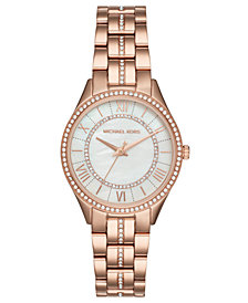 Michael Kors Women's Lauryn Rose Gold-Tone Stainless Steel Bracelet Watch 33mm