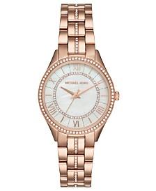 Michael Kors Women's Lauryn Rose Gold-Tone Stainless Steel Bracelet Watch 33mm