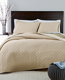 CLOSEOUT! Martha Stewart Collection Linen-Cotton Broadstitch Diamonds King Quilt, Created for Macy's, Tan