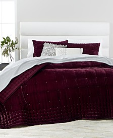 Martha Stewart Collection Merlot Tufted Velvet Quilt & Sham Collection, Created for Macy's