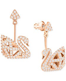 Swarovski Rose Gold-Tone Three Dimensional Pavé Swan Drop Earrings
