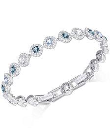 Swarovski Silver-Tone Halo & Crystal Link Bracelet