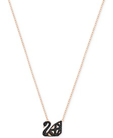 Two-Tone Jet Pavé Iconic Swan Pendant Necklace