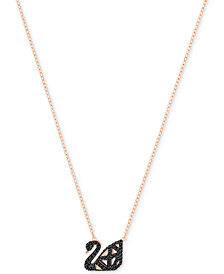 Swarovski Two-Tone Jet Pavé Iconic Swan Pendant Necklace