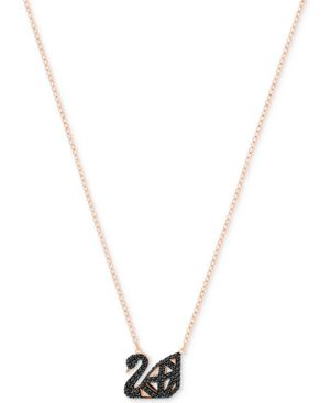 Two-Tone Jet Pave Iconic Swan Pendant Necklace, Black