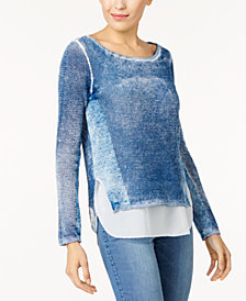 I.N.C. Cotton Layered-Look Sweater, Created for Macy's