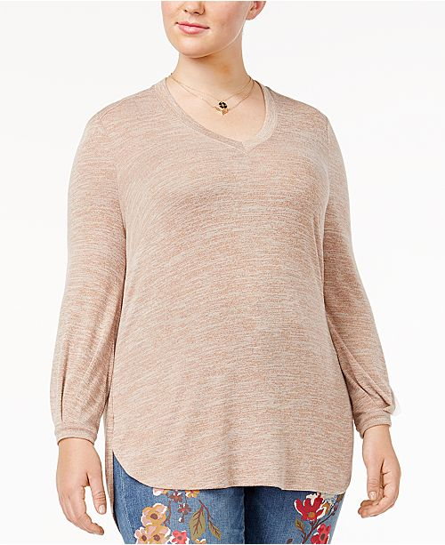 caab86f79 Melissa McCarthy Seven7 Trendy Plus Size High-Low Top & Reviews ...