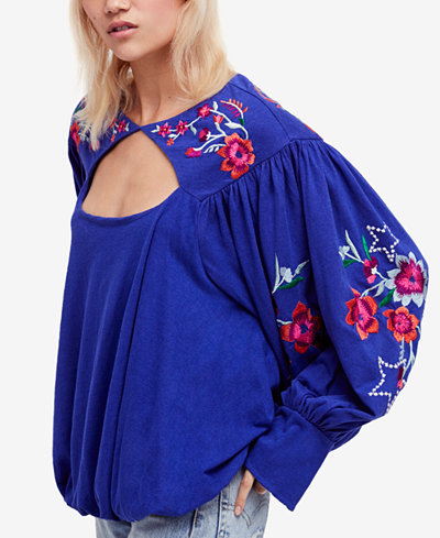 Free People Lita Embroidered Cutout Top