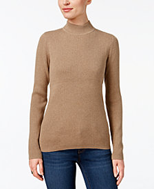 Karen Scott Cotton Ribbed Mock-Neck Sweater, Created for Macy's