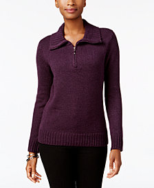 Karen Scott Petite Mock-Neck Quarter-Zip Sweater, Created for Macy's