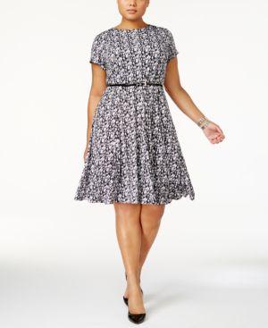 Jessica Howard Plus Size Belted Geo-Print Dress 4912324