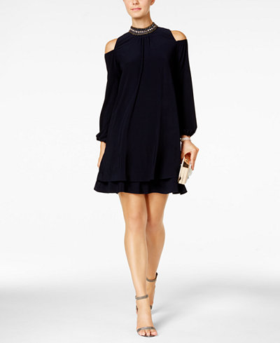 X by XSCAPE Embellished Cold-Shoulder Party Dress