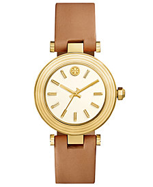 Tory Burch Women's Classic T Light Brown Leather Strap Watch 36mm