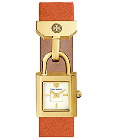 Tory Burch Women's Surrey Lilium Orange Leather Strap Watch 22x24mm