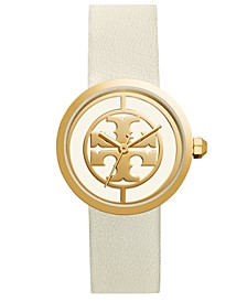 Women's Reva White Leather Strap Watch 36mm