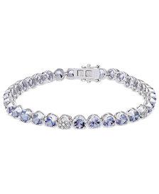 Tanzanite (8-1/10 ct. t.w.) & Diamond (1/8 ct. t.w.) Tennis Bracelet in Sterling Silver