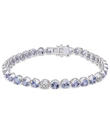 Tanzanite (8-1/10 ct. t.w.) & Diamond (1/8 ct. t.w.) Tennis Bracelet in Sterling Silver