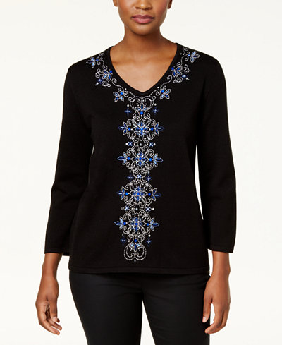 Alfred Dunner High Roller Petite Embellished V-Neck Sweater