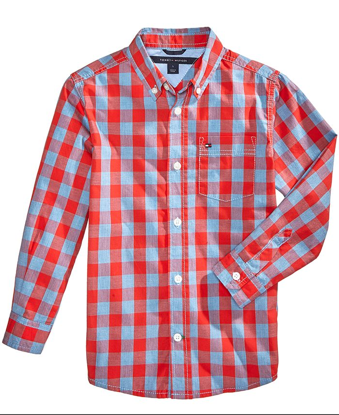 Tommy Hilfiger - Little Boys Box-Plaid Cotton Shirt