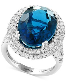 EFFY® London Blue Topaz (11-9/10 ct. t.w.) & Diamond (1 ct. t.w.) Ring in 14k White Gold