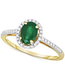 Emerald (3/4 ct. t.w.) & Diamond (1/6 ct. t.w.) Ring in 14k Gold