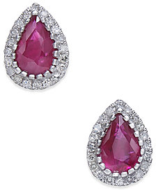 Certified Ruby (3/4 ct. t.w.) & Diamond (1/8 ct. t.w.) Stud Earrings in 14k White Gold
