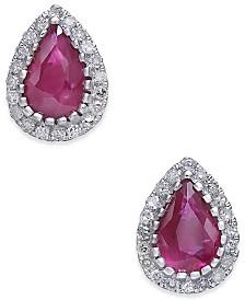 Certified Ruby (3/4 ct. t.w.) & Diamond (1/8 ct. t.w.) Stud Earrings in 14k White Gold