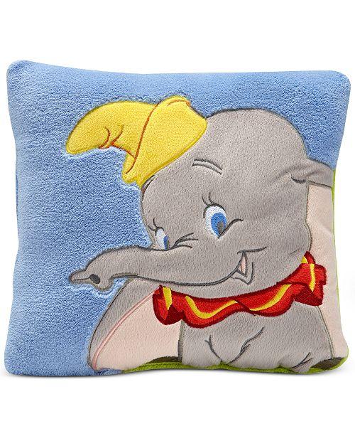 Dumbo Dream Big Embroidered Appliqué Plush Decorative Pillow