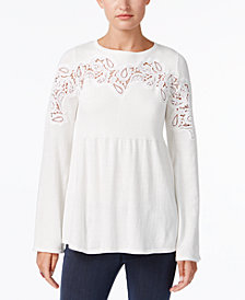 Style & Co Petite Lace Babydoll Sweater, Created for Macy's