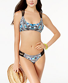 California Waves Juniors' Sea Glass Deco Printed Halter Bikini Top & Strappy Briefs, Created for Macy's