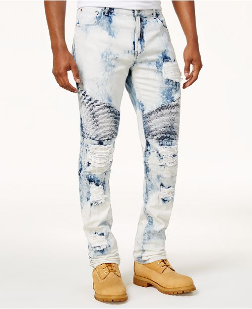 662d8a41ad Reason Men s Bleached Ripped Moto Jeans  Reason Men s Bleached Ripped Moto  ...
