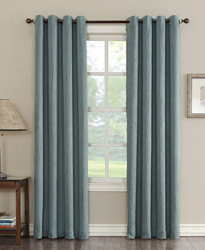 Sun Zero Collins Crushed Solid Room Darkening Woven Curtain Panel Collection