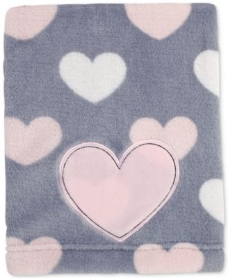 Little Love by Hugs & Kisses Heart-Print Embroidered Appliqué Plush Blanket