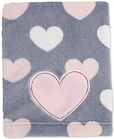 Hugs & Kisses Heart-Print Embroidered Appliqué Plush Blanket