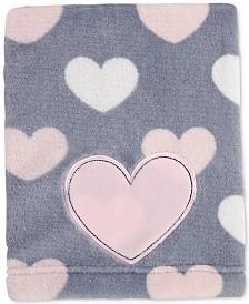 Little Love by NoJo Hugs & Kisses Heart-Print Embroidered Appliqué Plush Blanket