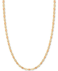 "16"" Tri-Color Valentina Chain Necklace (1/5mm) in 14k Gold, White Gold & Rose Gold"
