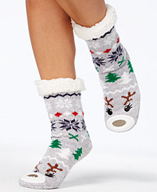Charter Club Women's Holiday Slipper Socks,with Fleece & Grippers, Created for Macy's