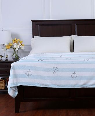 Berkshire Nautical Stripe Anchor-Print Velvety Plush Twin Blanket