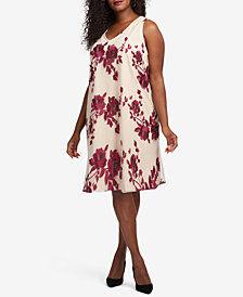 ECI Plus Size Embroidered Trapeze Dress