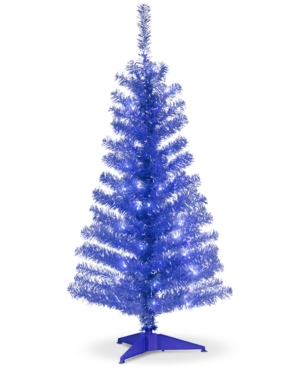 National Tree Company 4 Blue Tinsel Tree With Plastic Stand  70 Clear Lights