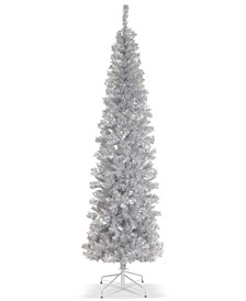 7' Silver Tinsel Tree With Metal Stand