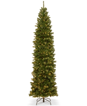 National Tree Company 10 North Valley Spruce Pencil Slim Tree With 550 Clear Lights