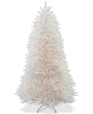 National Tree Company 65 Dunhill White Fir Hinged Tree With 650 Clear Lights