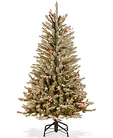 National Tree Company 4.5' Dunhill® Fir Slim Hinged Tree With Snow, Red Berries, Pine Cones & 350 Clear Lights