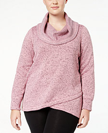 Ideology Plus Size Cowl-Neck Pullover, Created for Macy's