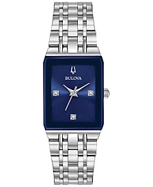 Bulova Women's Futuro Diamond-Accent Stainless Steel Bracelet Watch 21x32mm, Created for Macy's